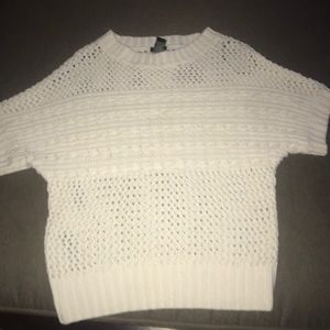 Sweaters - Short Sleeve - Cream Colored Knit Sweater